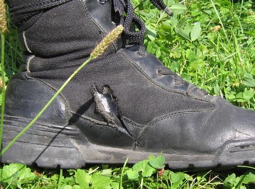 Aufgeschlitzter Schuh