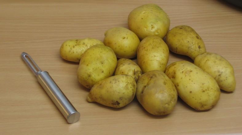 Kartoffeln vor dem Schaelen, mit Kartoffelschäler